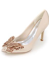 economico -Per donna Scarpe Raso Primavera / Estate Decolleté scarpe da sposa Zero / Appuntite Zero Con diamantini / Fiocco Blu / Champagne / Avorio