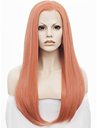 Donna Parrucche sintetiche Lace frontale Lungo Lisci Arancione Attaccatura dei capelli naturale Parte laterale parrucca del merletto