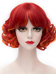 Red gradient neat bang small volume Small and pure and fresh college wind wig