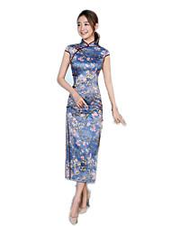cheap -One-Piece Short Sleeve Long Length Blue Lolita Dress Polyester