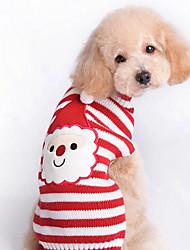 preiswerte -Katze Hund Pullover Hundekleidung Streifen Rot Wollen Kostüm Für Haustiere Herrn Damen Niedlich Neujahr Weihnachten