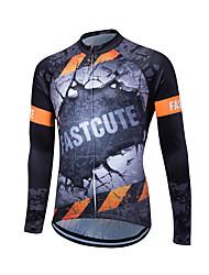 Fastcute Maillot de Cyclisme Homme Manches Longues Vélo Shirt Maillot Hauts/Tops Garder au chaud Séchage rapide Zip frontal Respirable