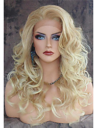 cheap -Vintage Blonde Long Loose Wave Wig Heat Resistant Lace Front Synthetic Hair Hot Sale