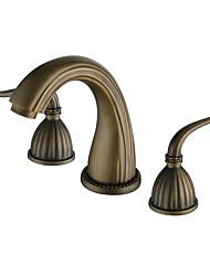 Antique Deck Mounted Widespread Ceramic Valve Two Handles Three Holes Copper Bathroom Sink Faucet
