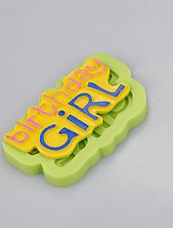 Недорогие -девушка день рождения торты изображение силиконовые формы украшения инструменты шоколадная форма ramdon цвет