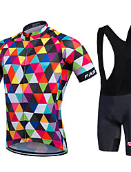 cheap -Fastcute Cycling Jersey with Bib Shorts Men's Women's Unisex Short Sleeves Bike Bib Shorts Sweatshirt Jersey Bib Tights Clothing Suits