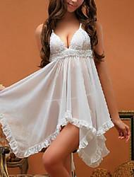 cheap -Women Babydoll & Slips Nightwear Solid Nylon Spandex White