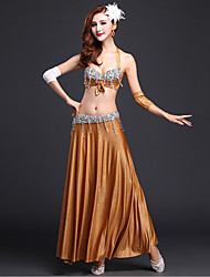 Belly Dance Outfits Women's Performance Rayon Sequins Split Front 3 Pieces Gold / Purple / Dark Blue / Light Red