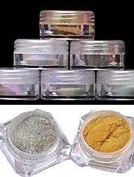 cheap -2pcs Manicure Mirror Powder Classic 6 Color 2G Boxed Laser Chameleon Powder Mirror Effect