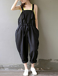 cheap -Women's Solid Black Jumpsuits,Plus Size / Casual / Day Strap Sleeveless Loose Thin Elastic Waist Fashion Cotton/Linen