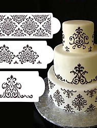 cheap -3Pcs Lot Lace Flower Cake Stencil Cake Cookie Fondant Side Baking Stencil Wedding Decorating Tool