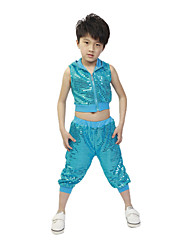 cheap -Jazz Outfits Children's Training Performance Polyester Sequin Sleeveless Natural Top Pants