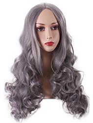 donne onda lunga sintetica profonde parrucche granny fibra resistente conveniente partito cosplay parrucca calore grigi