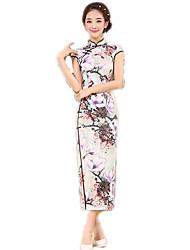 cheap -One-Piece Short Sleeve Long Length Ink Blue Lolita Dress Polyester