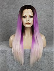 Недорогие -Синтетические кружевные передние парики Прямой Искусственные волосы Волосы с окрашиванием омбре / Природные волосы Парик Жен. Лента спереди Блондинка