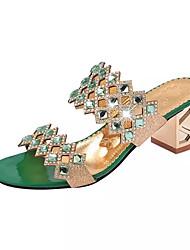 Damer Sandaler Komfort Sommer PU Formelt Krystal Tyk hæl Krystal-hæl Blokhæl Guld Rød Grøn Blå Under 2,5 cm