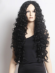 Top Quality Fashion Long Curly Black Synthetic Wigs for Sexy Lady Synthetic Wigs