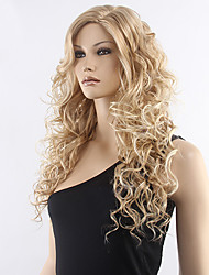 Top Quality Blonde Curly Wig Middle Long Synthetic Wigs Hot Sale.