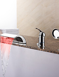 Fashion Tub LED / Waterfall / Handshower Included with Ceramic Valve 1-Handle 3-Holes for Chrome  Bathtub Faucet