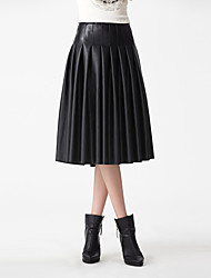 cheap -Women's Solid Black SkirtsStreet chic Midi