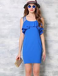 Women's Ruffle Going out Street chic Sheath DressPatchwork Round Neck Above Knee Sleeveless Blue Polyester Summer