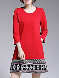Damen A-Linie Lose Kleid-Lässig/Alltäglich Übergröße Retro Street Schick Geometrisch Rundhalsausschnitt Mini ¾-Arm Baumwolle Polyester