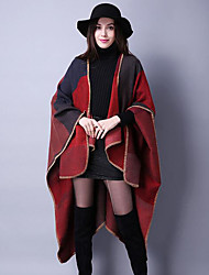Women's Going out / Casual/Daily Vintage Regular Cloak / CapesJacquard Blue / Red / Black / Brown / Purple