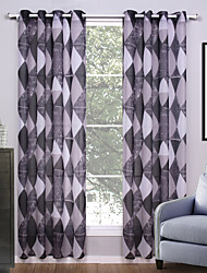 Grommet Top Two Panels Curtain Modern , Geometic Living Room Polyester Material Sheer Curtains Shades Home Decoration For Window