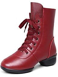 Недорогие -Жен. Обувь для модерна / Танцевальные сапожки Кожа Ботинки / С раздельной подошвой Шнуровка На низком каблуке Не персонализируемая Танцевальная обувь Черный / Красный