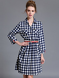Chemise Robe Femme Décontracté / Quotidien Grandes Tailles simple,Tartan Col de Chemise Mi-long Coton Automne Taille Normale Non Elastique