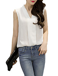 cheap -Women's Work Casual Street chic Blouse,Solid V Neck Sleeveless Polyester Thin