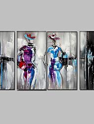 Dipinta a mano Astratto / Ritratti / Ritratti astratti Dipinti ad olio,Modern / Mediterraneo Quattro Pannelli Tela Hang-Dipinto ad olio