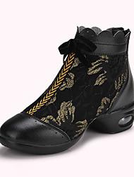 Scarpe da ballo-Non personalizzabile-Da donna-Sneakers da danza moderna / Moderno-Piatto-Finta pelle / Di pizzo-Argento / Dorato