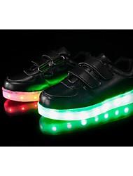 Chlapecké Tenisky Chůze Pohodlné Svítící boty Koženka Jaro Podzim Zima Sportovní Ležérní Party Kouzelná páska LED Plochá podrážkaBílá