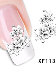 cheap -1pcs Water Transfer Sticker Nail Stamping Template Daily Flower Fashion High Quality