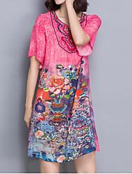 женщин вскользь / ежедневно марочные плюс размер / свободная платье, печать v шеи выше колена ½ длина рукава красный полиэстер лето