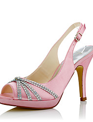 Feminino-Sandálias-Chanel-Salto Agulha-Rosa-Seda-Casamento / Social / Festas & Noite