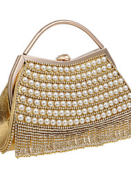 cheap -Women Bags Polyester Evening Bag Rhinestone Pearl Detailing for Wedding Event/Party Formal All Seasons Blue Gold Black Silver Red