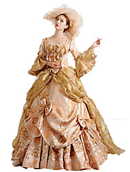 cheap -Rococo / Victorian Costume Women's Dress / Party Costume / Masquerade Red / Golden Vintage Cosplay Lace / Cotton Poet Sleeve Court Train