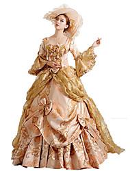 abordables -Rococo Victorien Costume Femme Robes Costume de Soirée Bal Masqué Rouge / Doré Vintage Cosplay Dentelle Coton Manches Longues Poète Longueur Sol Long Robe de Soirée Déguisement d'Halloween / Fleur
