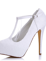 cheap -Women's Shoes Silk Tulle Spring Summer Heels Stiletto Heel Platform Round Toe Buckle for Wedding Dress Party & Evening White