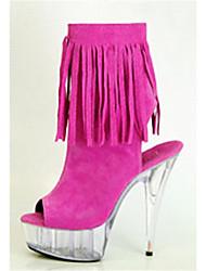 abordables -Mujer-Tacón Stiletto Plataforma-Plataforma Botas a la Moda-Botas-Boda Vestido Fiesta y Noche-Vellón-Negro Azul Rojo Marrón Café