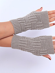 Women's Winter Wool Knitting Solid Color Gloves