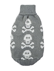 cheap -Dog Sweater Dog Clothes Cute Keep Warm Skulls Black Gray Red Costume For Pets