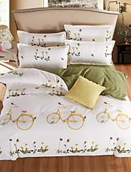 bedtoppings Consolador capa de edredão colcha 4pcs set queen size folha plana padrão fronha bicicleta imprime microfibra