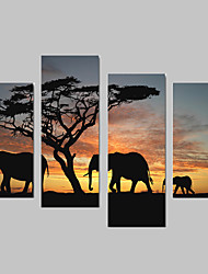 cheap -Animal Elephant Canvas Print Four Panels Ready to Hang,Vertical For Living Room With Cotton Drawing(No Frame)