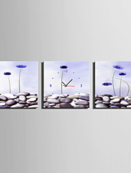 cheap -MINI SIZE E-HOME Light Purple Flowers Clock in Canvas 3pcs