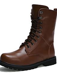 Muškarci Čizme Jesen Zima Udobne cipele PU Ležeran Ravna potpetica Vezanje Crna Smeđa