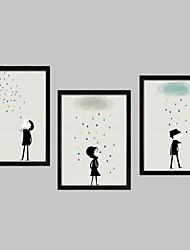 baratos -Desenhos Animados Quadros Emoldurados / Conjunto Emoldurado Wall Art,PVC Preto Sem Cartolina de Passepartout com frame Wall Art