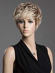 Prevailing Short Inclined Bang Hair Capless Fluffy Curly Human Hair Wig